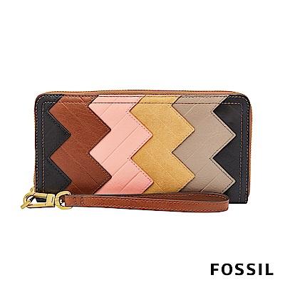 FOSSIL Logan 真皮系列多層拉鍊零錢袋設計長夾-多色拼接