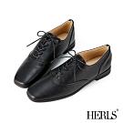 HERLS牛津鞋-網路獨家款內真皮素面方頭鞍部牛津鞋-黑色