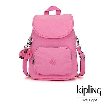 Kipling 甜美糖果粉拉鍊後背包-CARAF