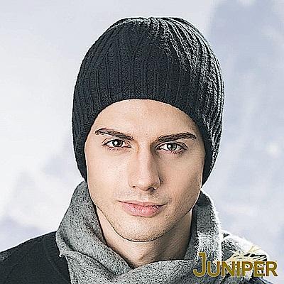 JUNIPER 男款帥氣羊毛混紡雙層針織防風毛線冬帽