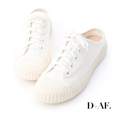 D+AF 隨性日常.休閒帆布穆勒餅乾鞋*白