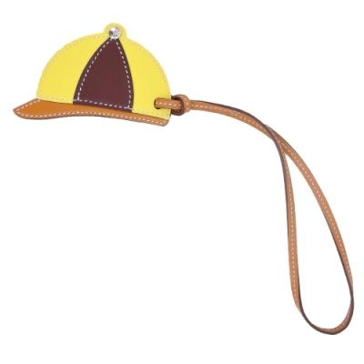 HERMES Bag Charm 俏皮球帽牛皮吊飾(黃X咖啡)