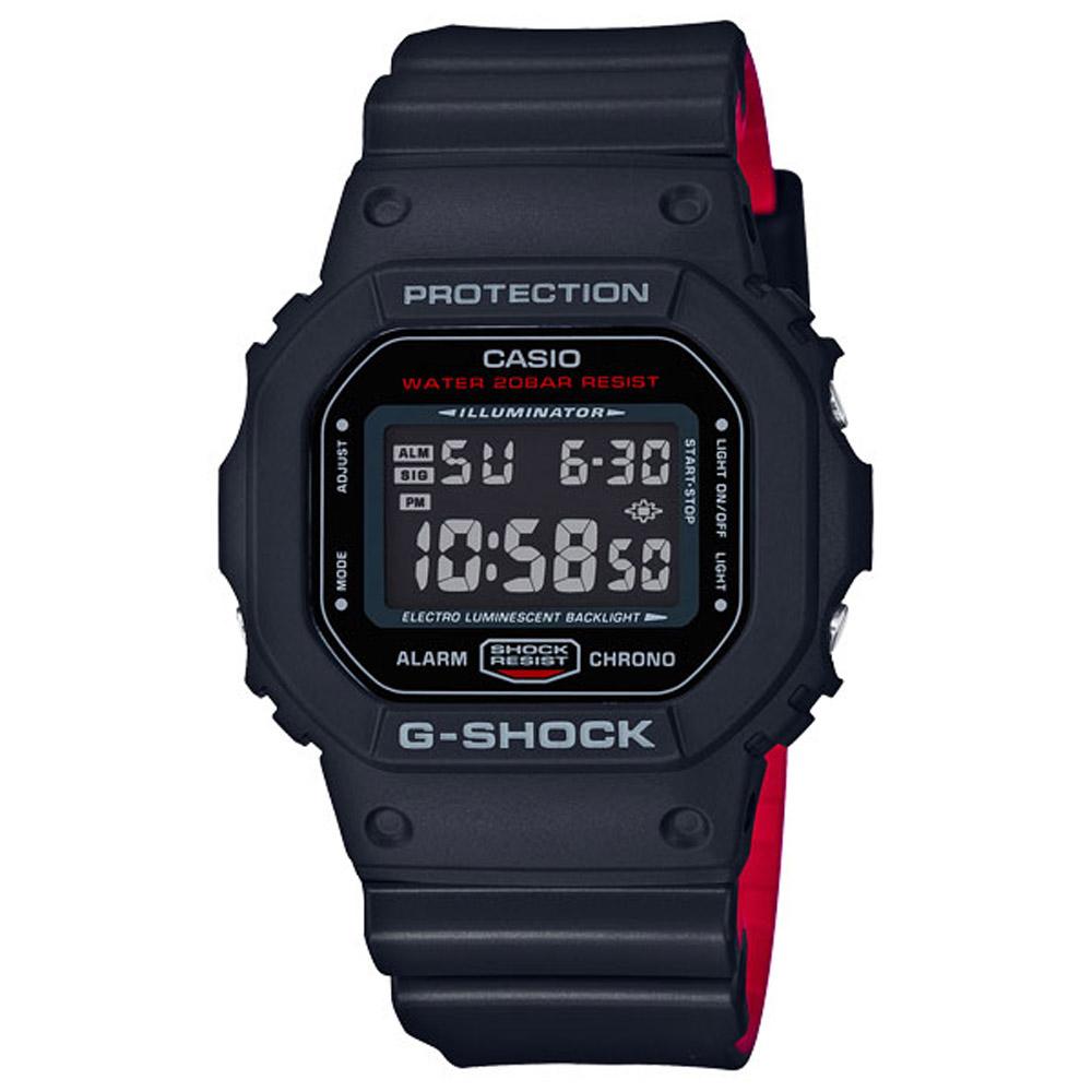 G-SHOCK 絕對強悍經典運動錶(DW-5600HR-1)-紅黑/42.8mm