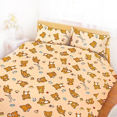 享夢城堡 雙人加大床包涼被四件組-拉拉熊Rilakkuma 吃點心-米黃