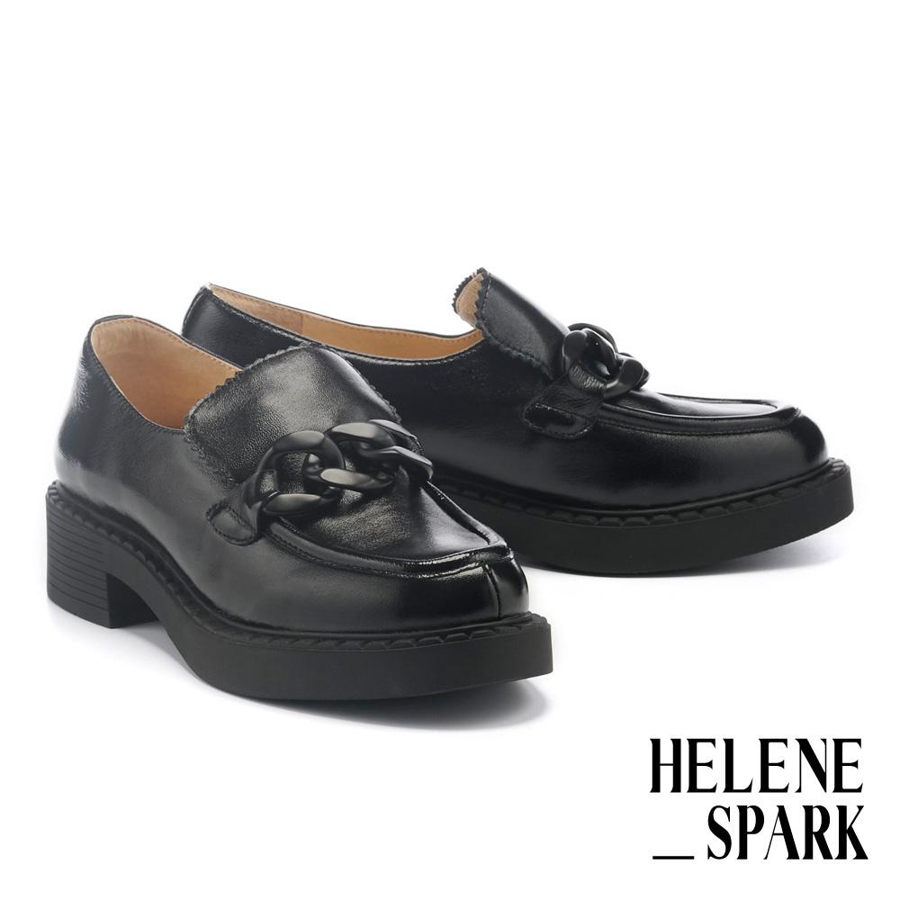 厚底鞋 HELENE SPARK 簡約復古霧感粗鏈條方頭樂福厚底鞋-黑