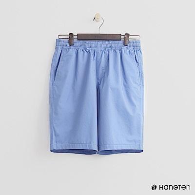Hang Ten - 男裝-鬆緊純色棉質短褲 - 淺藍