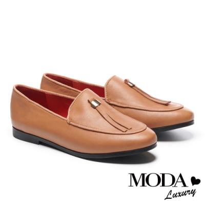 低跟鞋 MODA Luxury 復古文青條帶油蠟羊皮樂福低跟鞋-咖