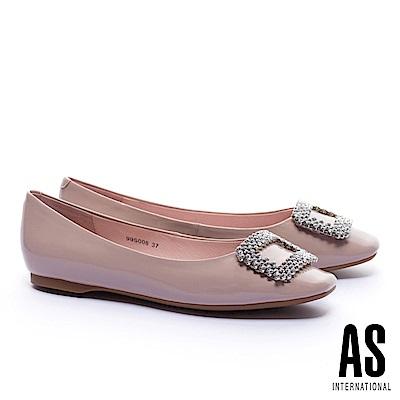 平底鞋 AS 晶鑽方釦超軟牛漆皮方頭平底鞋-粉