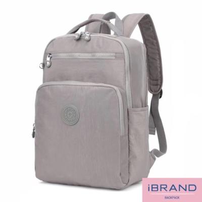 iBrand後背包 輕盈防潑水素色雙拉鍊尼龍後背包(大)-灰色