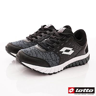 Lotto義大利運動鞋 雙密度避震跑鞋款 SE050黑(中大童段)