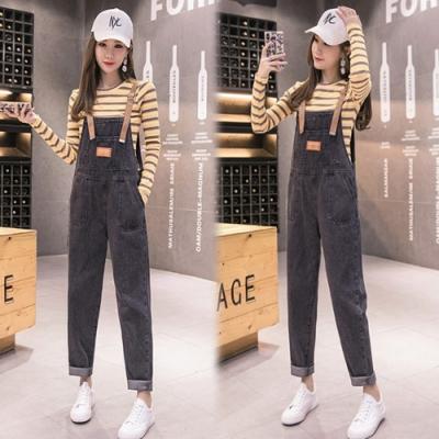 【韓國K.W.】(預購)純淨設計連身牛仔吊帶褲-1色