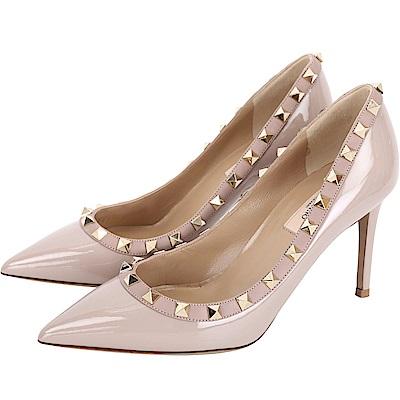 VALENTINO Rockstud 85mm 鉚釘滾邊漆皮尖頭高跟鞋(粉色)