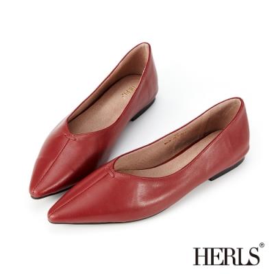 HERLS平底鞋-柔軟全真皮縫線尖頭平底鞋-酒紅色