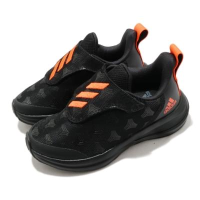 adidas 慢跑鞋 FortaRun Tango AC 童鞋 愛迪達 免綁鞋帶 魔鬼氈 緩震 中童 黑 橘 FV3312