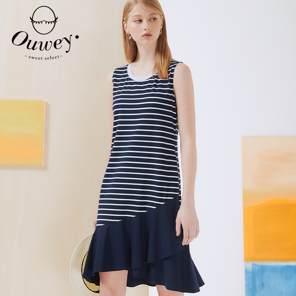 OUWEY歐薇 條紋不規則波浪造型無袖洋裝(深藍)3212077737