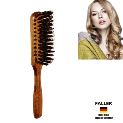 FALLER芙樂德國製櫸木黑豚鬃角度捲蓬兩用髮梳(一入)