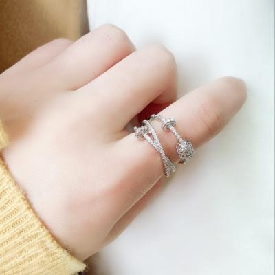 梨花HaNA 韓國925銀晶緻全水鑽三層交叉戒指