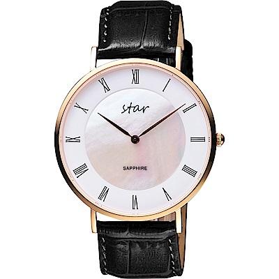 STAR 時代 城市情人羅馬石英手錶-珍珠貝x黑色錶帶/41mm