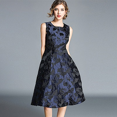 低調奢華藍黑印花無袖連身裙M-2XL-M2M