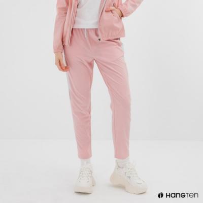 Hang Ten-女裝-恆溫多功能-REGULAR FIT標準四向彈力吸濕快乾抗曬撞色運動長褲-粉色