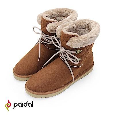 Paidal優雅滾毛假綁帶內鋪毛短筒雪靴-咖