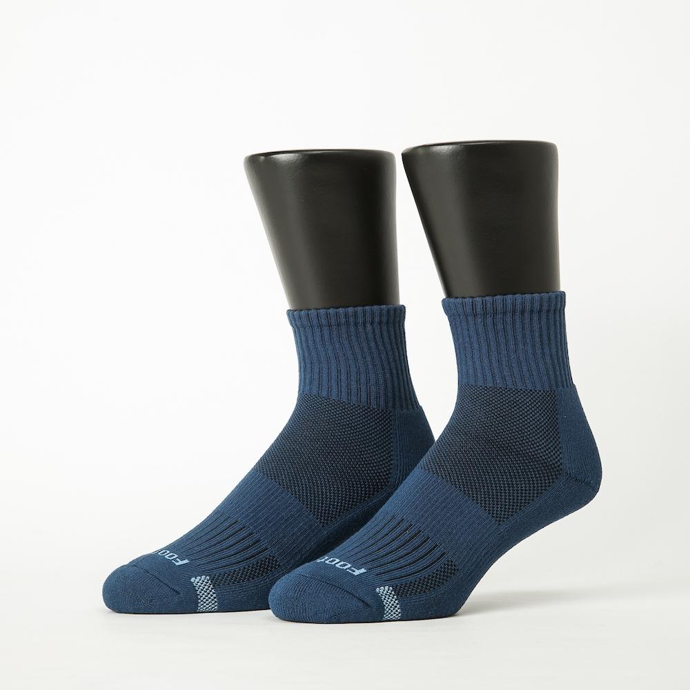 Footer除臭襪-單色運動逆氣流氣墊襪-六雙入(淺灰*2+黑*2+藍*2)