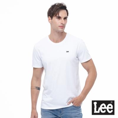 Lee 短T 小Logo織標短袖圓領T 男款 白色