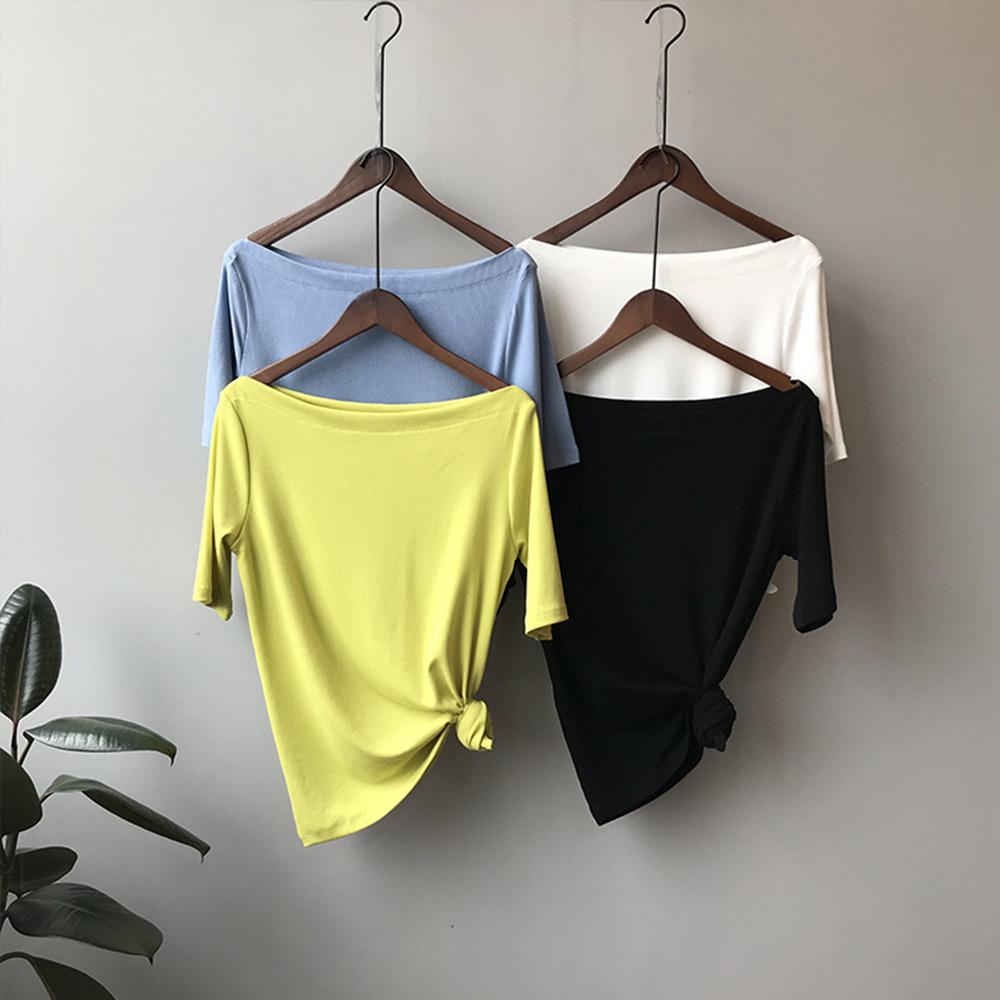 韓國空運 一字領彈性薄款針織衫-4色-TMH