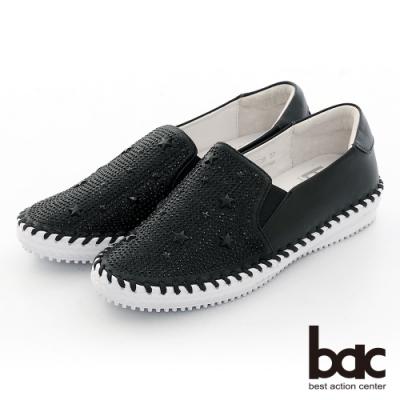 【bac】休閒享樂星星鉚釘鑽飾手縫線懶人休閒鞋-黑色
