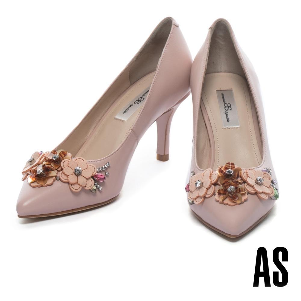 高跟鞋 AS 絢麗優雅花卉晶鑽尖頭高跟鞋-粉