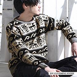 滿版花紋圓領針織毛衣(12色) ZIP日本男裝