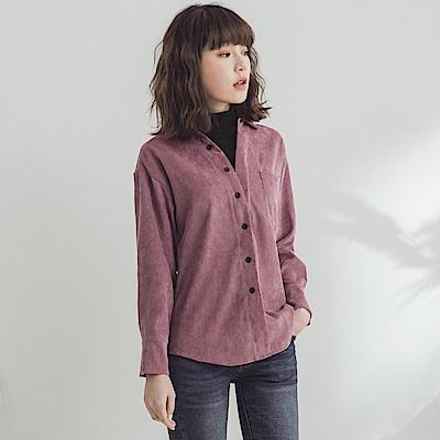 磨毛坑條小高領假兩件式襯衫-OB大尺碼