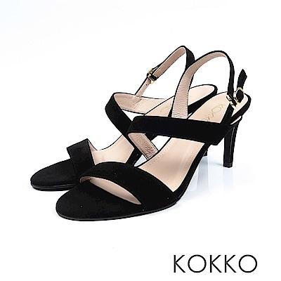 KOKKO - 最愛夏日斜條紋真皮高跟涼鞋 - 異黑