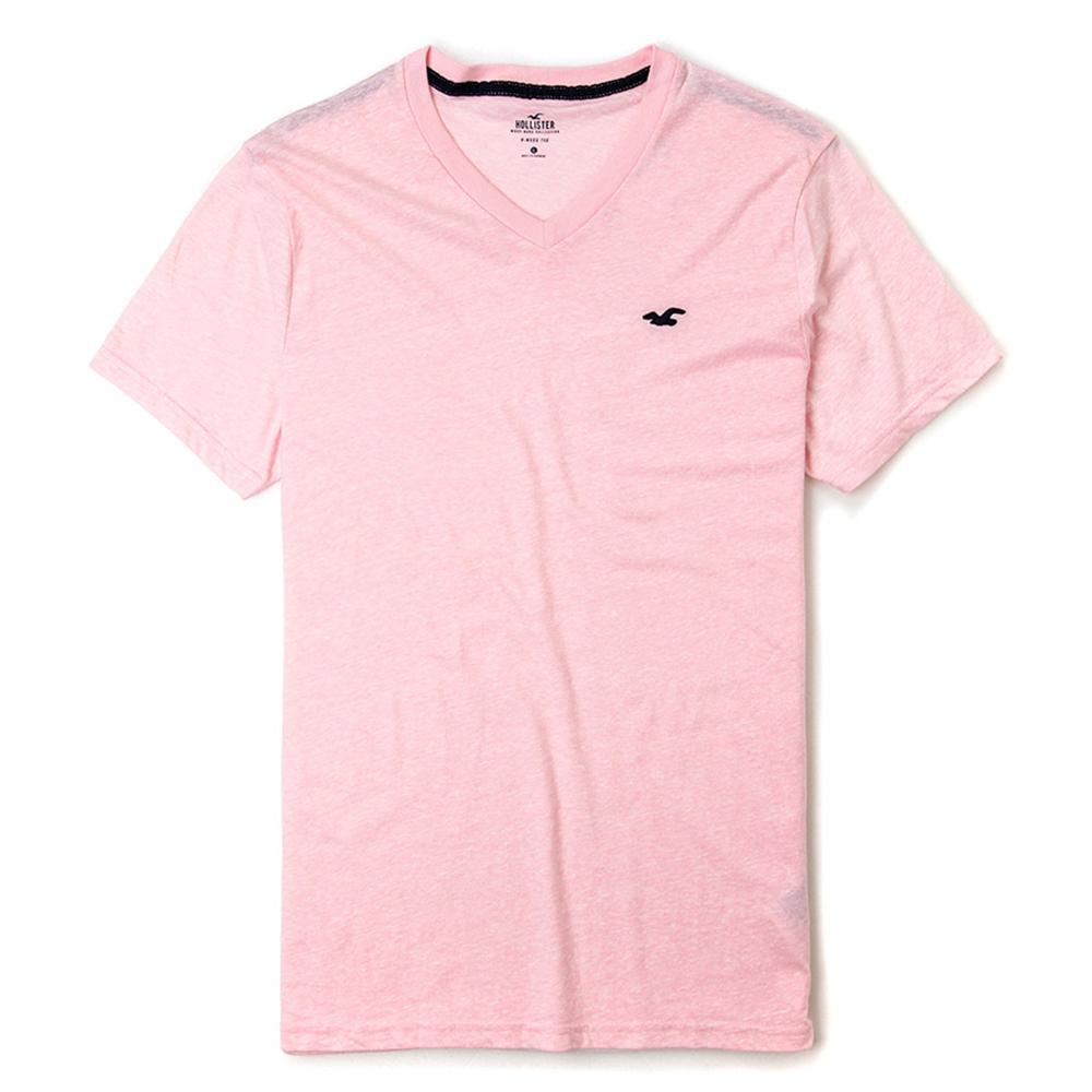 海鷗 Hollister 熱銷排行經典標誌素面短袖T恤(女)-粉色