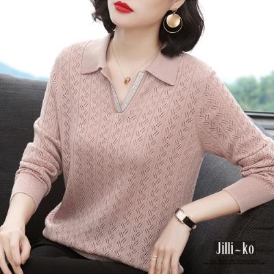 JILLI-KO 鏤空設計造型鑲鑽領針織上衣- 粉/藍/黃
