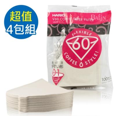 HARIO V60 日本製2人份白色濾紙 共400張(VCF-01-100W*4)