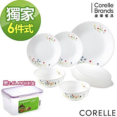 【美國康寧】CORELLE春漾花朵6件式餐盤組(F04)