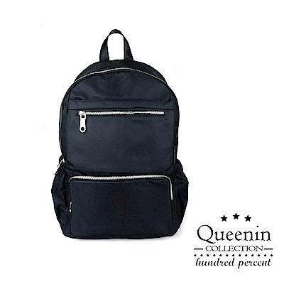 DF Queenin日韓 - 嚴選優質感個性雙肩後背包-黑色