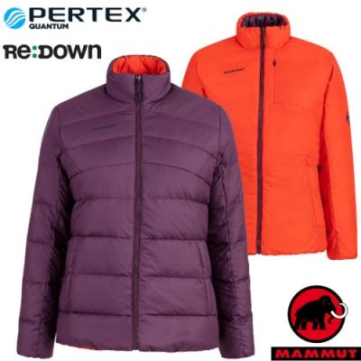 長毛象 女新款 Whitehorn 輕量保暖正反兩穿羽絨外套.夾克_黑莓紫/辛辣紅