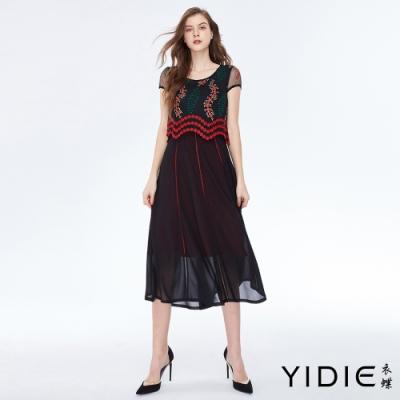 YIDIE衣蝶 端莊緹花刺繡半罩衫兩件式雪紡長洋裝