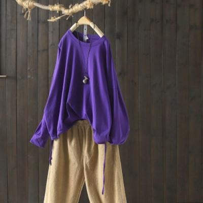 純棉抽繩圓領T恤寬鬆長袖內搭上衣-設計所在