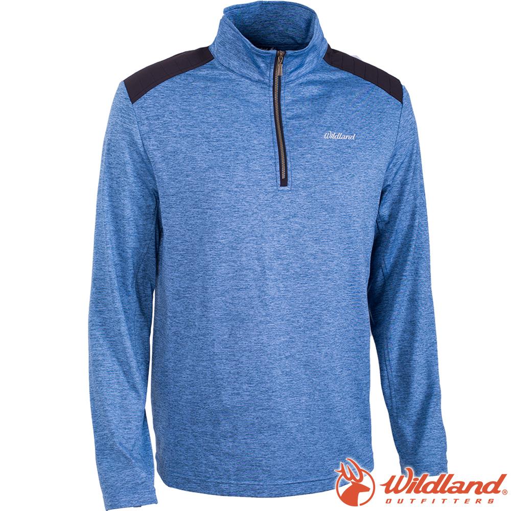 Wildland 荒野 0A62602-69灰藍色 男彈性針織雙色保暖上衣