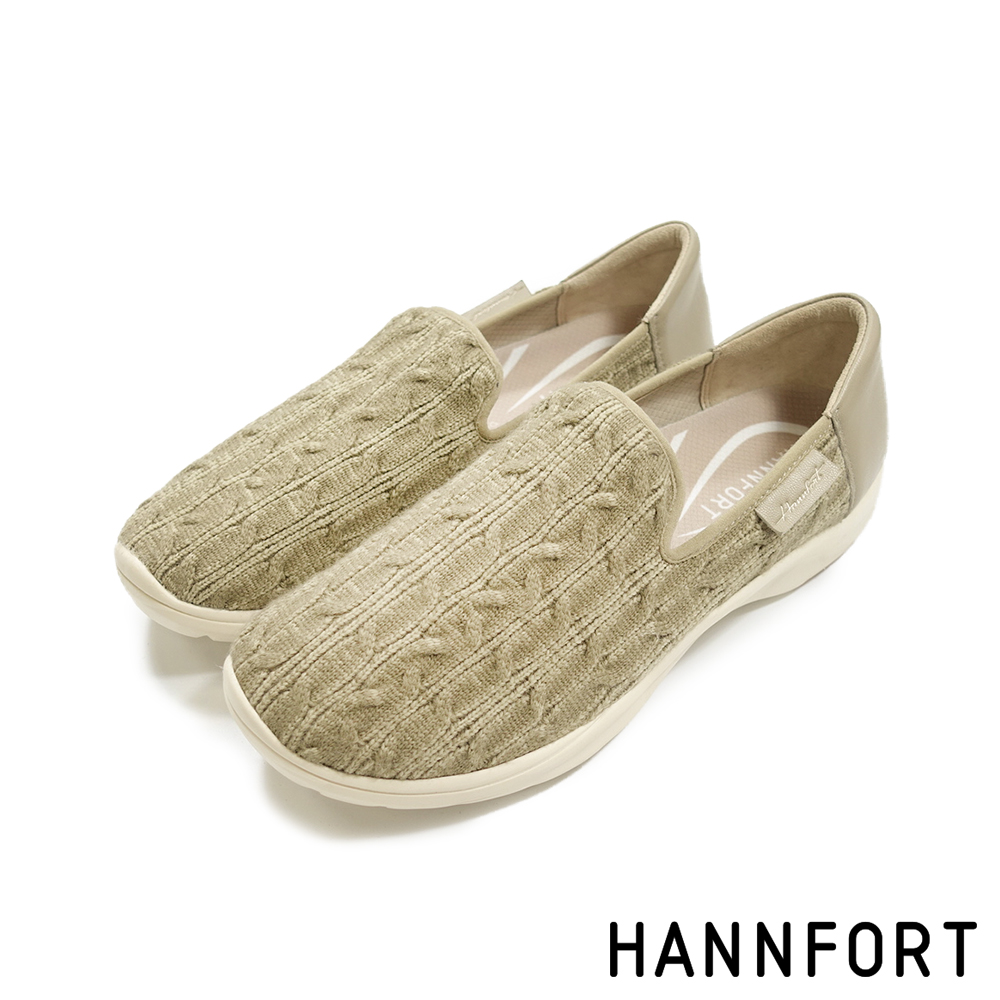HANNFORT EASY WALK羊毛麻花氣墊休閒鞋-女-質感卡其