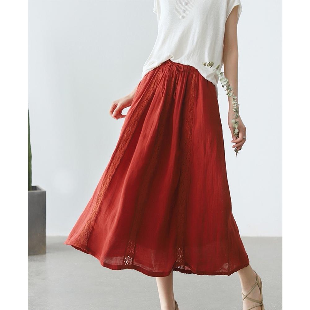 蕾絲拼接優雅百搭A字顯瘦裙子四色可選-設計所在