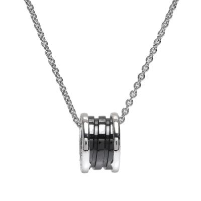 BVLGARI 寶格麗SAVE THE CHILDREN經典925純銀三環陶瓷項鍊(黑)