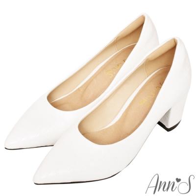 Ann'S加上優雅高跟版-石頭紋沙發後跟高跟尖頭鞋-白