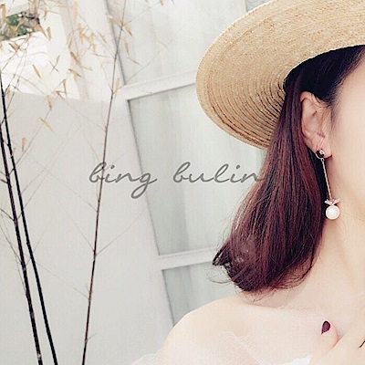 梨花HaNA 韓國甜美花園珍珠花不對稱長短耳環