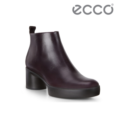 ECCO SHAPE SCULPTED MOTION 35粗跟拉鍊踝靴 女-霧紅