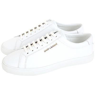 YSL Saint Laurent Andy 燙金字母繫帶滑板鞋(女款/白色)