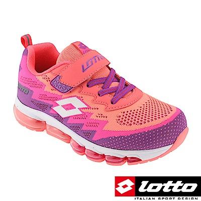 LOTTO 義大利 童 編織氣墊跑鞋(粉橘/紫)